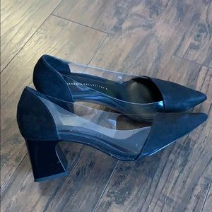 Black and clear Zara block heels shoes